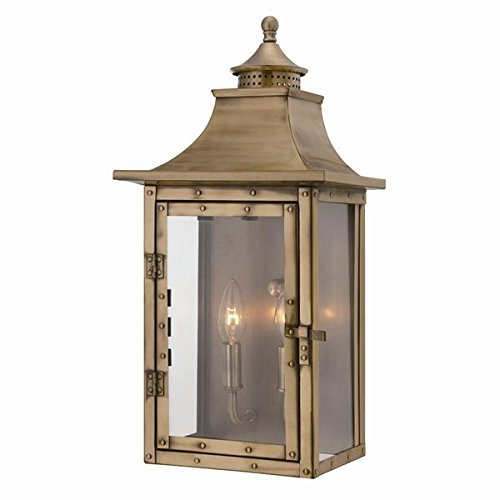 (Acclaim 8312AB St. Charles Collection 2-Light Wall Mount Outdoor Light Fixture, Aged Brass)