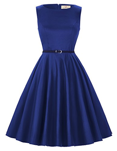 GRACE KARIN 50s Retro Wedding Swing Dress A-Line Navy Blue Size XXL F-54