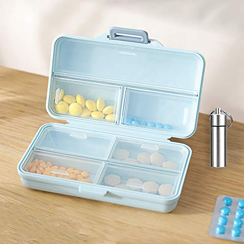 - Weekly Pill Organizer Travel Pill Box Cute MedicineOrganizer 7 Day AM PM Small Pill Case, Vitamins Dispenser with 7 Compartments, Large Daily Supplement (Blue)