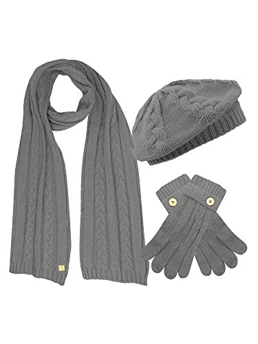Dark Grey Cable Knit Beret Hat Scarf & Glove Matching 3 Piece Set Set (Beret Scarf Set)