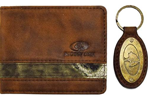 Mossy Oak Mens Bifold PU Leather Wallet Color Tan Camo with Mossy Oak Embossed Logo and a coordinating Mossy Oak Engraved Hardware Key Fob Color Tan by Aquarius -
