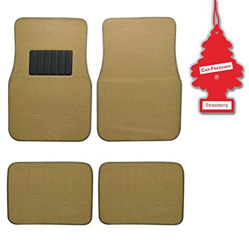 (BDK Light Beige 4 Pc Universal Carpet Car Mats w/ Heel Pad + Little Tree)