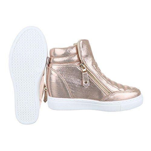 Ital-Design High-Top Sneaker Damenschuhe High-Top Keilabsatz/Wedge Wedges Reißverschluss Freizeitschuhe Rosa Gold