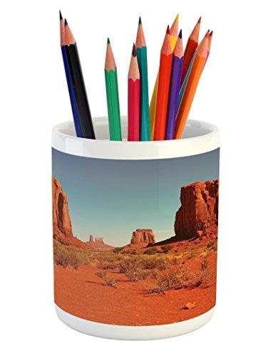 Cheap  Ambesonne Desert Pencil Pen Holder, Sunny Hot Day in Monument Valley Arid..