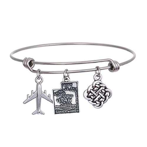 JJTZX State Bangle U.S. Map Charm Expandable Travel Bracelet Long Distance Relationship Gift Best Friends Bracelet (UTAH)
