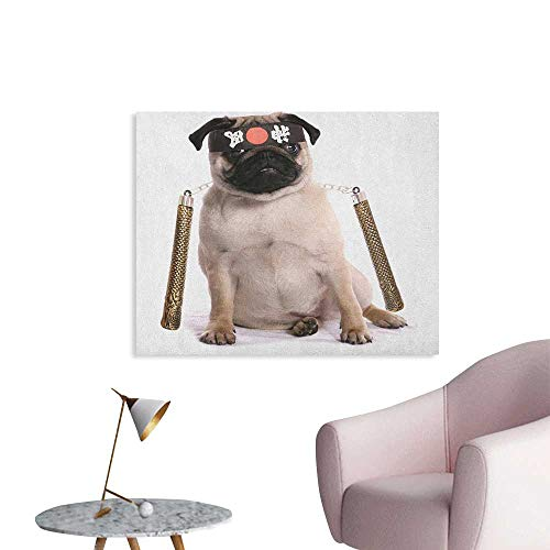 Anzhutwelve Pug Photo Wall Paper Ninja Puppy with Nunchuk Karate Dog Eastern Warrior Inspired Costume Pug Image Funny Poster Cream Black Gold W48 xL32]()