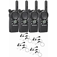 4 Motorola CLS1110 Two Way Radio Walkie Talkie with 4 HKLN4601 PTT Earpieces
