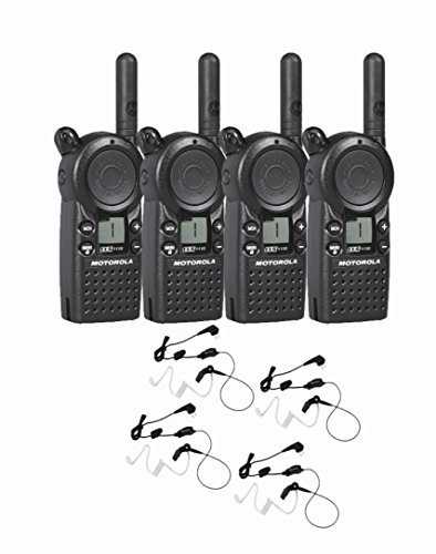 4 Motorola CLS1110 Two Way Radio Walkie Talkie with 4 HKLN4601 PTT Earpieces by Motorola