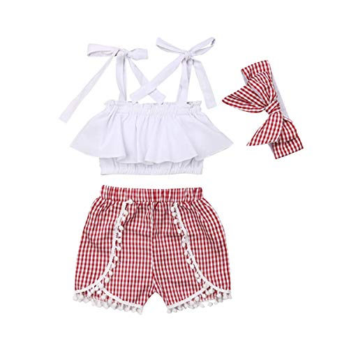 Toddler Girls Summer Shorts Set Halter Ruffle Top+Tassel Pineapple Pants Kids Summer Clothes Outfits (White Top+Plaid Shorts+Headband, 2-3T)