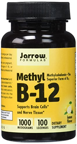 Jarrow Formulas Methylcobalamin (Methyl B12), Supports Brain Cells and Nerve Tissue, 1000 mcg, 100 Lozenges (Vitamin A 1000 compare prices)