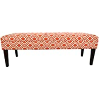 MJL Furniture Designs Kaya Collection Upholstered and Padded Button Tufted Accent Bedroom Bench, Nicole Series, Tabby Orange Linen