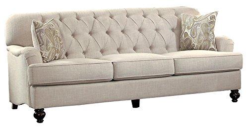 """Homelegance Clemencia 85"""" Linen-Like Upholstered Sofa, Whi"""