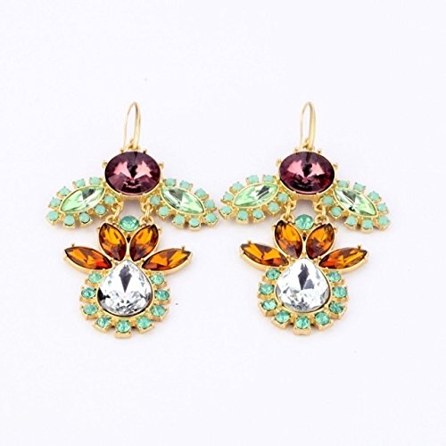 The new alloy rim Europe ear jewelry diamond flower earrings gemstone earrings Ms.