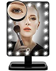 PINKZIO Lighted Makeup Mirror with Lights,1X 10X Magnification Led Make Up Mirror,Portable Magnifying Vanity Mirror,Touch Screen,Black