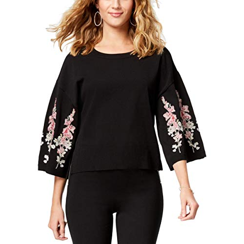 - INC Womens Embroidered 3/4 Sleeves Crop Sweater Black L
