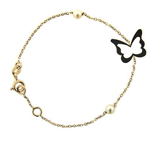 18k Yellow Gold Cultivated Pearls and center Open Butterfly Bracelet 5.75 inches with extra ring at 5.25 inches by Amalia