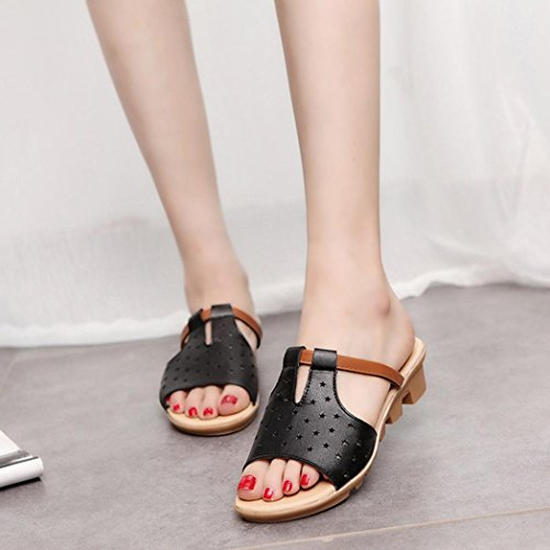 bescita Frauen Hausschuhe Weiblich Sandalen Fashion Solid Sommerstrand gleitet Schuhe (37, Schwarze)