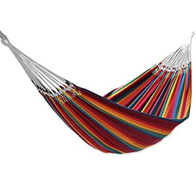 "NOVICA Multicolor Rainbow Striped Cotton Fabric 2 Person Brazilian Hammock, Brazilian Rainbow' (double) - Size: 144.1"" L x 66.1"" W Authentic: an original NOVICA fair trade product in association with National Geographic. Certified: comes with an official NOVICA Story Card certifying quality & authenticity. - patio-furniture, patio, hammocks - 41hYt5cYxJL. SS400  -"