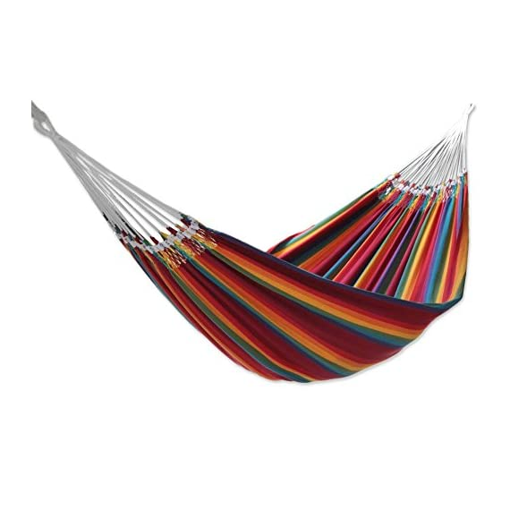 """NOVICA Multicolor Rainbow Striped Cotton Fabric 2 Person Brazilian Hammock, 'Brazilian Rainbow' (Double) - Size: 144.1"""" L x 66.1"""" W Authentic: an original NOVICA fair trade product in association with National Geographic. Certified: comes with an official NOVICA Story Card certifying quality & authenticity. - patio-furniture, patio, hammocks - 41hYt5cYxJL. SS570  -"""