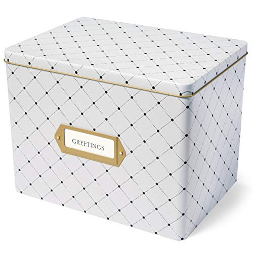 Greetings Box - Jot & Mark Greeting Card Organizer Tin Box with Tabbed Dividers (Dots)