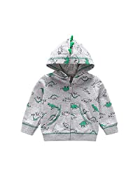 EISHOW Toddler Baby Boys Girls Long Sleeve Cartoon Dinosaur Hoodies Kids Infant Cute Warm Sweatshirt Zip-up Jacket Coat