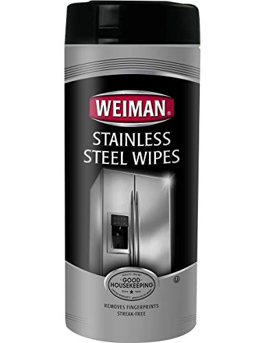 Weiman Stainless Steel Wipes - Removes Fingerprints, Residue, Water Marks and Grease From Appliances - Works Great on Refrigerators, Dishwashers, Ovens, Grills - 30 Count (Best Way To Remove Grease From Stainless Steel)