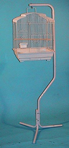 White Tubular Steel Hanging Hanger Bird Cage Stand by Mcage