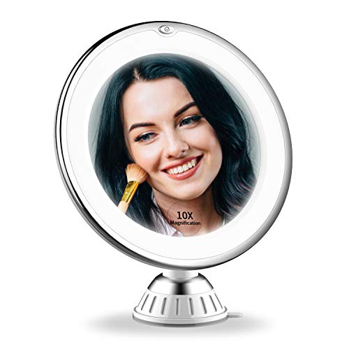 2020 Upgraded 10x Magnifying Lighted Makeup Mirror with 3 of Brightness, Portable LED Lighted Magnification Cosmetic Hand Mirror for Home Vanity Bathroom and Travel