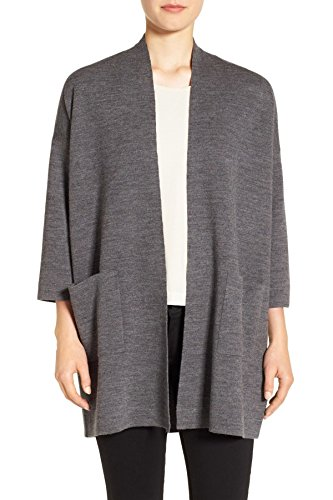 Eileen Fisher Straight Open Front Cashmere Organic Cotton Cardigan For Women Ash, (Eileen Fisher Wool Cardigan)