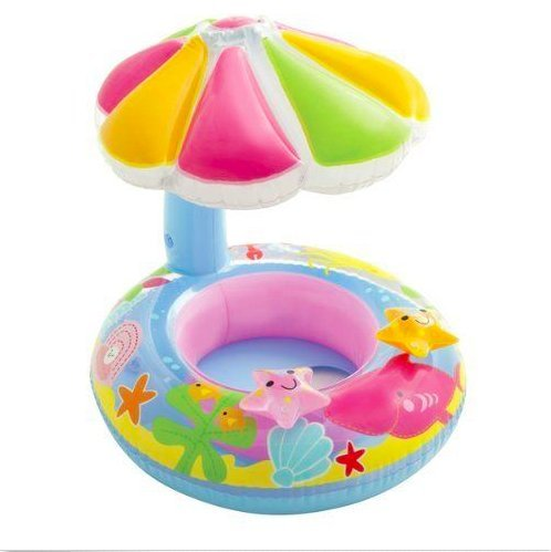 Kids Inflatable Sunshade Water Ring, Baby Floating Swimming Pool Fish Float