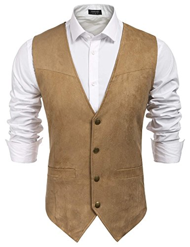 JINIDU Men's Casual Suede Leather Vest Jacket Slim Fit Dress Vest Waistcoat Light Khaki