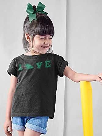 عتيق تيشيرت بناتي قطن بتصميم الحب السعودي ، مقاس 32 EU ، لون اسود
