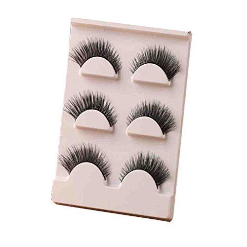 dolly2u 3 Pairs Fine Natural Reusable Handmade Soft Curling False Eyelashes Thick Slim