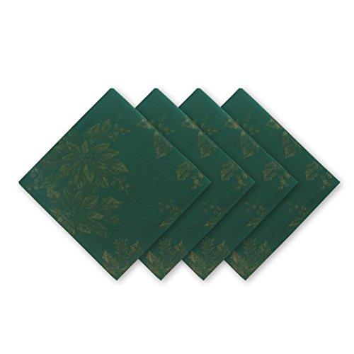 Linen Damask Fabric (Poinsettia Holiday Metallic Damask Fabric Christmas Napkin Set - 4 Piece Napkin Set,)
