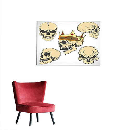 kungfu Decoration Wallpaper Skull,Skulls Different Expressions Evil Face Crowned Death Monster Halloween Print,Sand Brown Yellow Poster Paper W35.4 x L23.6 -