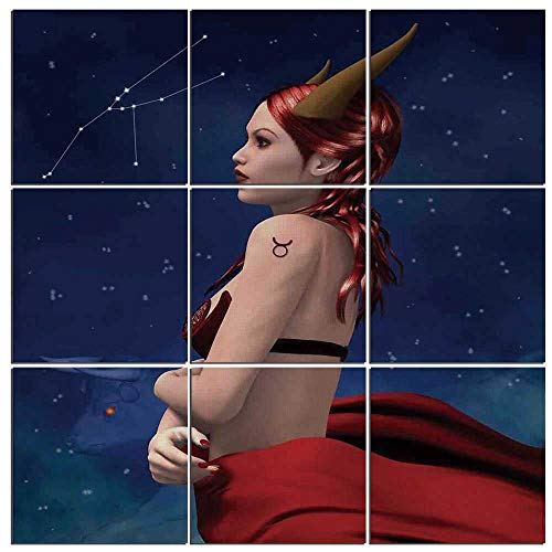 iPrint Canvas Art Astrology Wall Decor 9 Panel Canvas Artwork Modern Pictures Framed Ready to Hang -,Taurus Girl with Horns Maleficent Zodiac Stars Venus Beauty Graphic Design Decorative,48