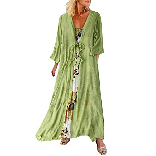 - Opinionated Women Maxi Dress Printed Loose Skirt Cotton and Linen Two-Piece Casual Round Neck Sundress Green