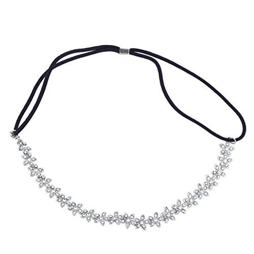 Lux Accessories Silver Flower Studded Bridal Special Occasion Stretch Headband Rhinestone Stretch Band