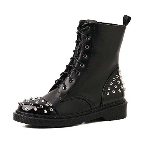 4cm Chunkly Tacón Remache Martin Botas Tall Bootie Mujeres Retro Inglaterra Estilo Shoelace Punk Knight Botas Casual Botas Eu Tamaño 34-40 Black