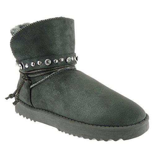 Angkorly - damen Schuhe Stiefeletten - Schneestiefel - Nieten - besetzt - Seil - Strass flache Ferse 3 CM Grau