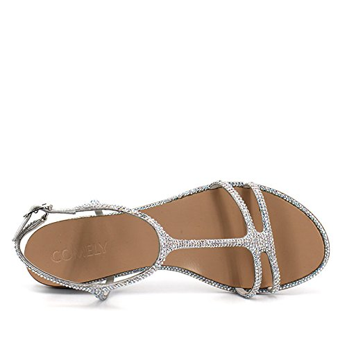 de casual con zapatillas imitación zapatos mujeres del TMKOO tela Plata sandalias verano del puntos amp; de para diamantes de planos de densa párrafo tela vxSqTp