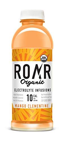 ROAR Organic Electrolyte Infusion – 12-Pack – USDA Organic, Low-Calorie, Low-Sugar | Antioxidants & B-Vitamins, Free of Gluten, Soy, Artificial Sweeteners & Preservatives (Mango Clementine)