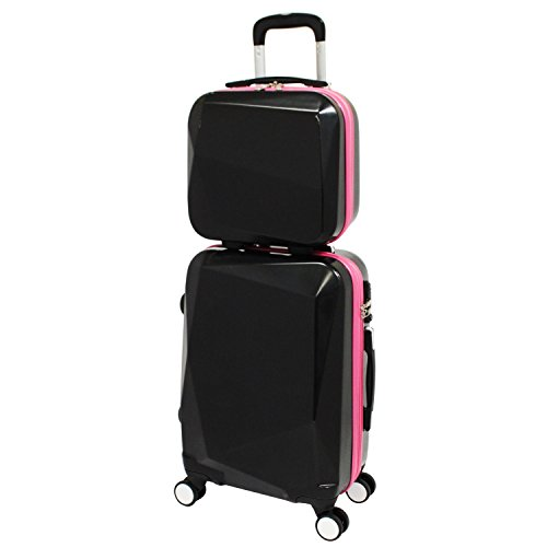 World Traveler Diamond Hardside Carry-on Spinner Luggage Set, Black Pink