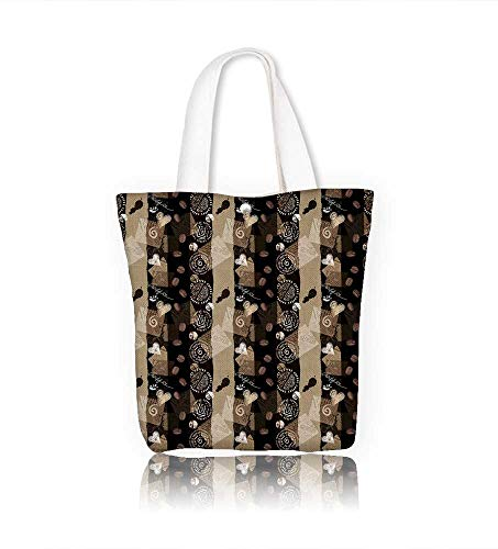 (canvas tote bagSeamless coffee collage imitation scrapbooking reusable canvas bag bulk for grocery,shopping W22xH15.7xD7 INCH)