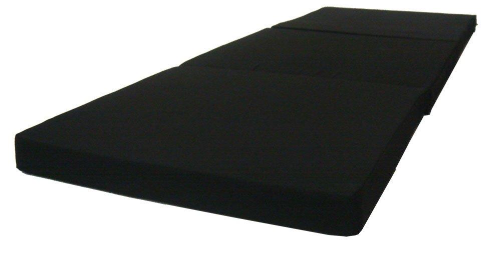 Black Tri Fold Foam Beds 3 x 27 X 75 Inch, Floor Tri-Fold Bed, High Density Foam 1.8 Pounds