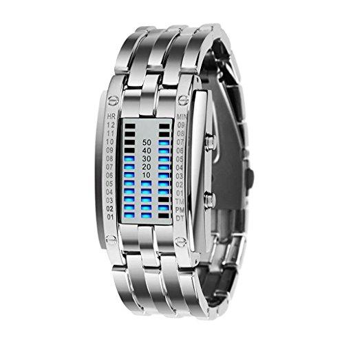 Luxury Women's Silver Stainless Steel Date Digital LED Bracelet Sport Watches (Blue - Bracelet Watch Led Sports