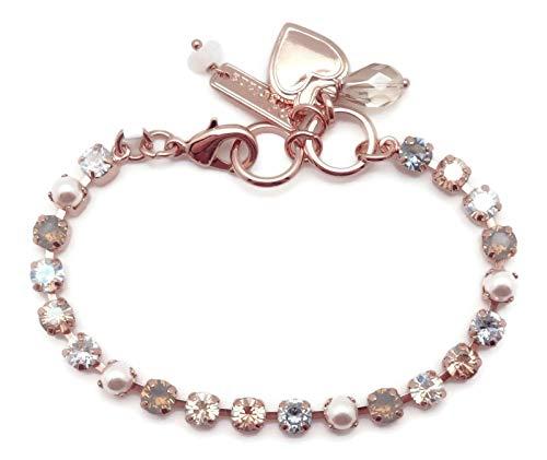 (Mariana Seashell Swarovski Crystal Rose Goldtone Tennis Bracelet Dainty Light Grey Clear Silk Mix 39361)