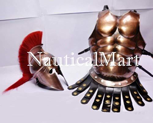 Greek Corinthian Helmet Medieval Roman Armor Spartan Costume W/ Muscle Jacket -