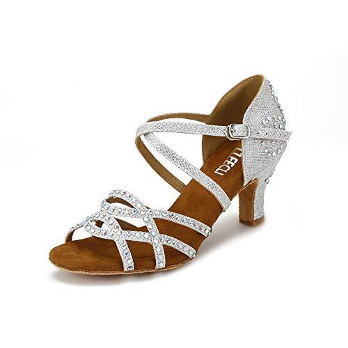 CLEECLI ZB10 - Zapatos de Baile para Mujer, diseño de Diamantes de imitación, Silver-2.5' Heel, 8 M US