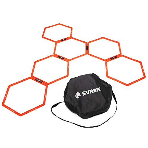 SVRBK Hexagonal Agility Rings - A Large Web of Hoops - Improves Speed and Footwork in Football, Soccer, Rugby, Boxing and Combat Sports - Including HIIT Timer App, Carry Bag and Training Guide. (Best Interval Training App)